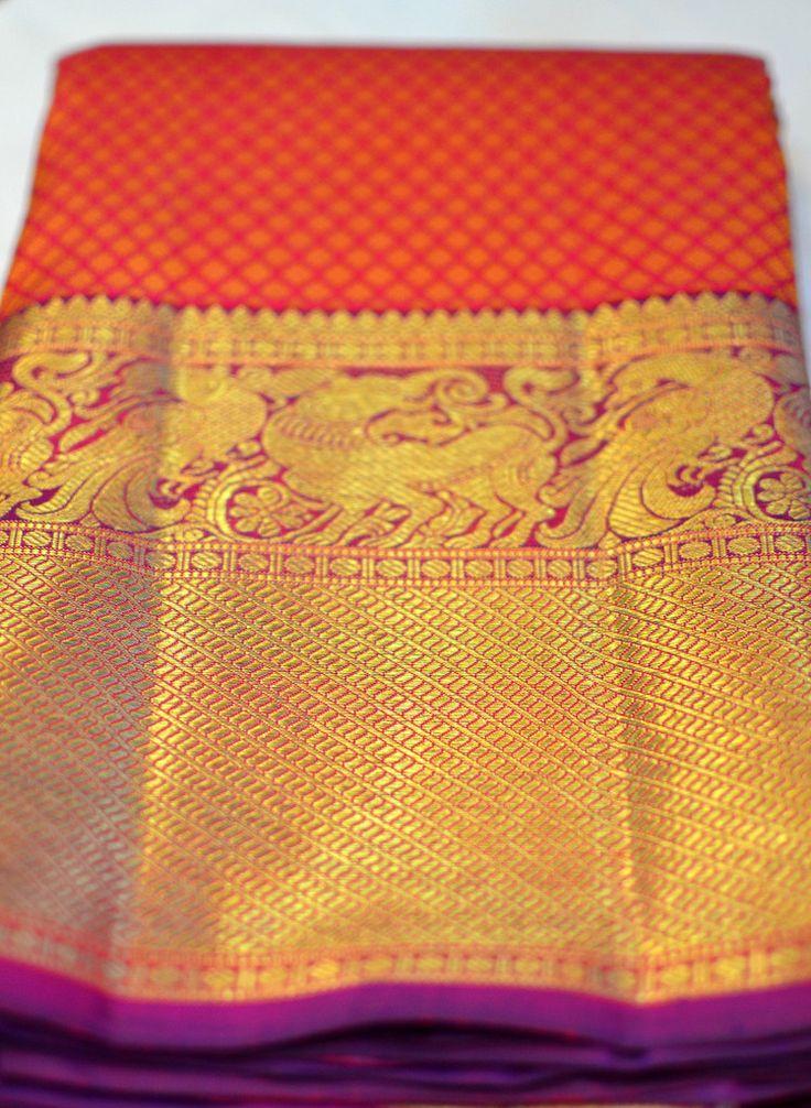 Red and purple rich zari kanjeevaram saree