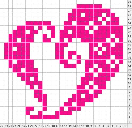 Knitting Pattern Central - Free Afghans Knitting Pattern Link swirl heart knit chart