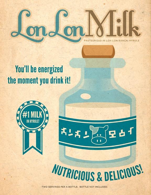 """""""Legend of Zelda"""" Lon Lon Milk advertisement!  I like the Hylian script on the bottle.  Mmm... milk."""