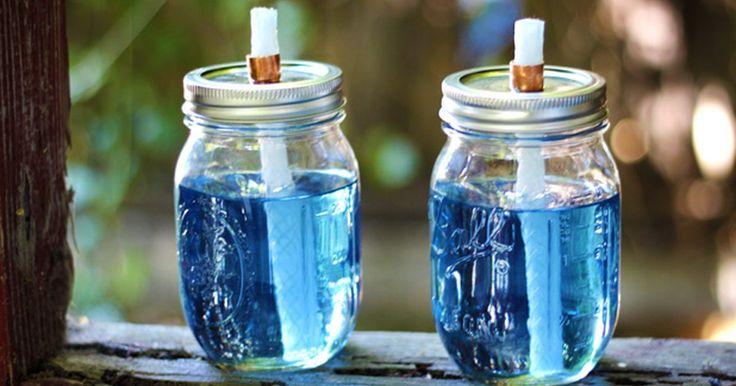 Cómo hacer antorchas de citronela en frascos de conservas