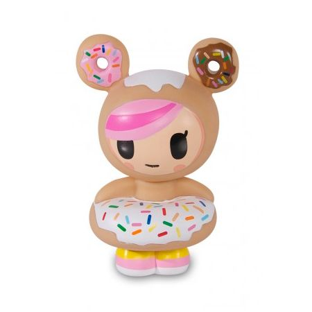 Donutella Vinyl Toy - Everyone's favorite donut enthusiast, Donutella, now has her very own vinyl! Standing at 5 inches high, she's wonderfully detailed from her donut-shaped ears right down to her rainbow colored sprinkles. Sweet and sugary, Donutella will make an adorable addition to your tokidoki vinyl family!