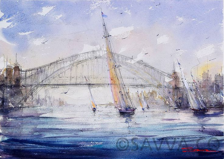 Sailing under the Sydney harbour bridge in watercolour
