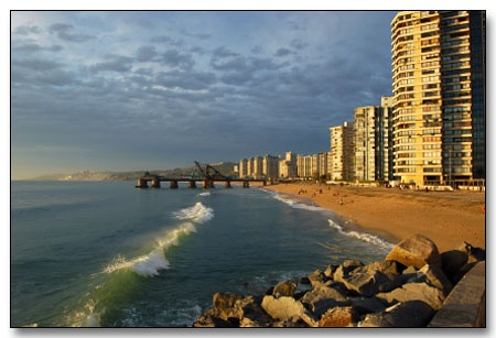 the beach in Vina Del Mar, Chile..