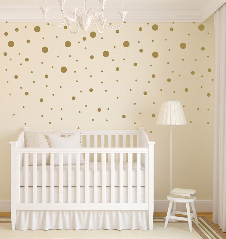 gold dot decals polka dot wall decal gold vinyl dots gold nursery decor - Baby Wall Designs