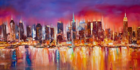 Vibrant abstract painting of the New York City skyline #ad