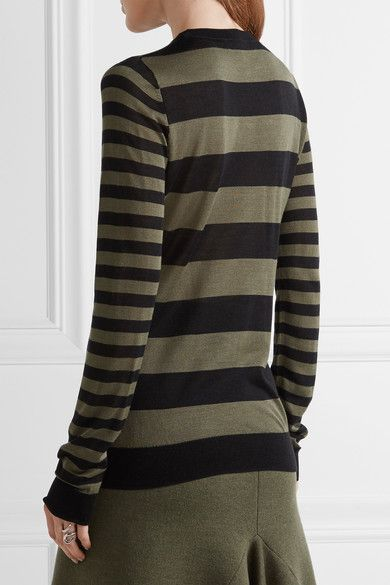 Jason Wu - Striped Silk Sweater - Army green - x small