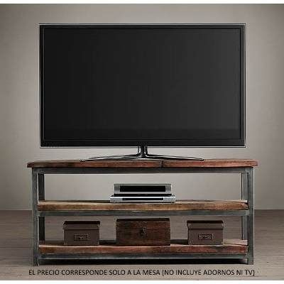 Mesa mueble tv led smart hierro madera consola dressoire for Muebles mesa