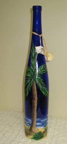 hand painted wine bottles | ... Hand Painted Tropical Beach Island Scene Colbolt Blue Wine Bottle