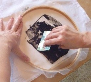 How to do Screen Printing with basic craft materials: clip art & Sticker sheets, Embroidery hoop, Sheer woven fabric (like organza/ voile) a decoupage medium (like Mod Podge) etc... (Silhouette cut shapes are perfect for this!)