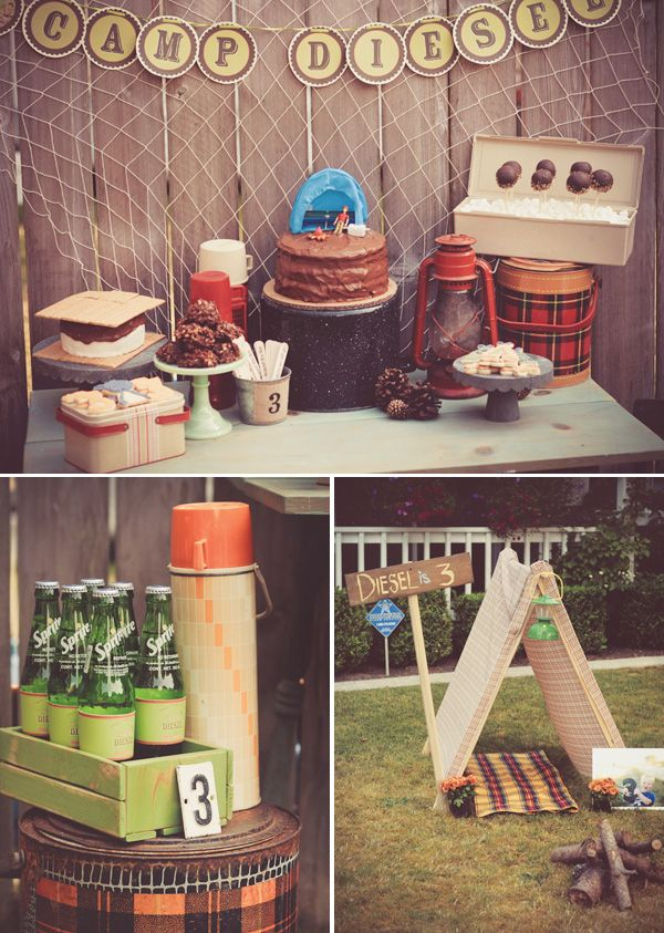 Vintage Inspired Backyard Camping Party Dessert Table