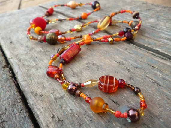 Red Brown & Orange long beaded Necklace red beaded by reccabella