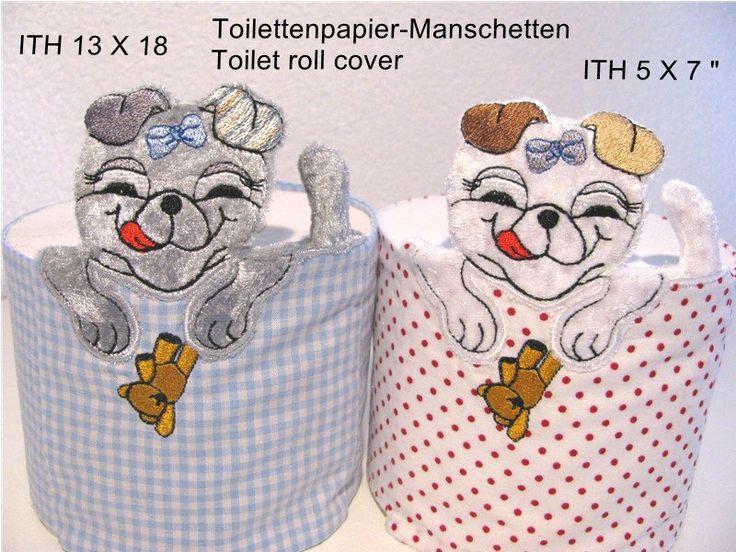 ITH-Stickdatei Klopapier-Manschette 7 13 x 18 cm, Stoffhund, Toilet Roll Cover, WC-Papier-Manschette, Banderole, Badezimmer von BornToPunching auf Etsy