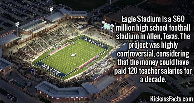2563 Eagle Stadium-Eagle Stadium is a $60 million high school football stadium in Allen, Texas. The project was highly controversial, considering that the money could have paid 120 teacher salaries for a decade.