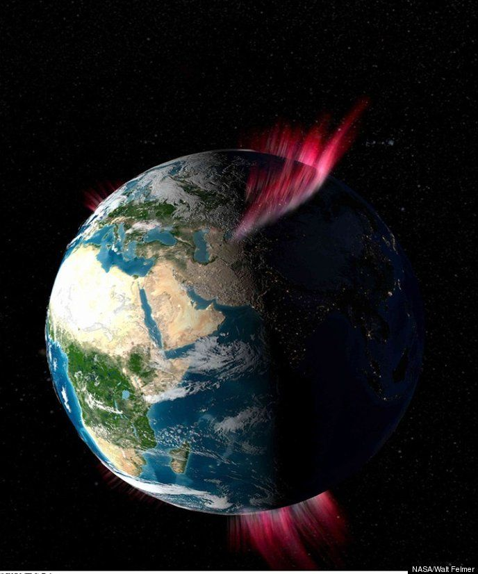 As seen from space -- Earth with aurora at both poles. NASA photo.