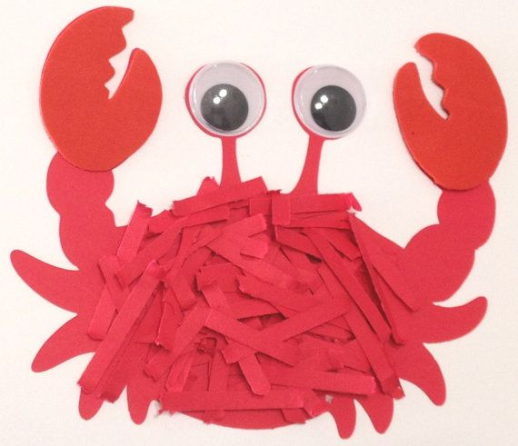 Crab with textured shell and wiggle eyes craft kit for kids Materials: cardstock, wiggle eyes, foam, glue