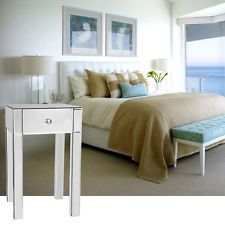 Clear Mirrored Single Drawer Bedside Table Lamp Nightstand cabinet