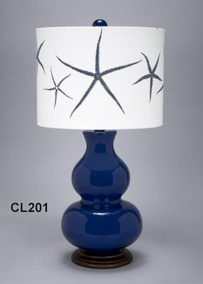 Blue Seaside Lamp with Starfish Designs