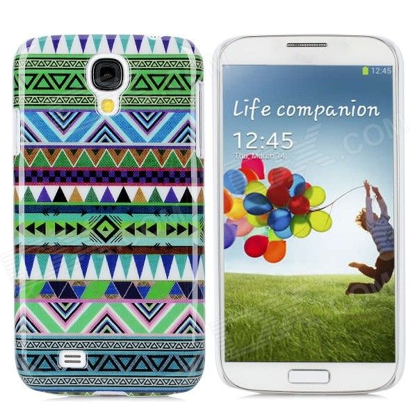 Protective W Shape Tribal Tattoo Pattern Plastic Back Case for Samsung S4 / i9500 - Multicolor