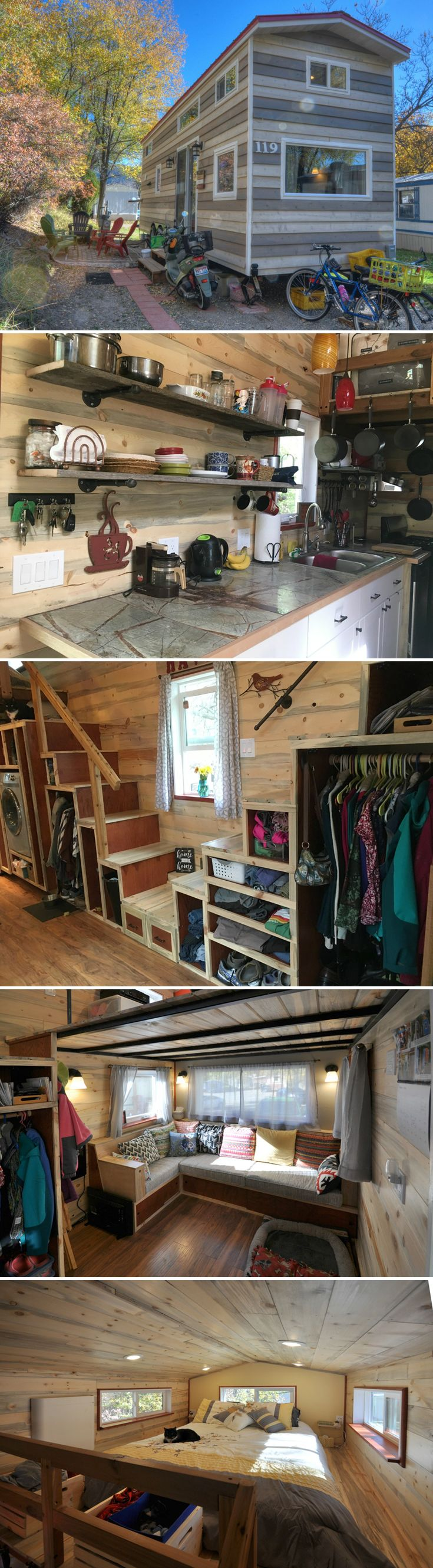 To help create a simpler life for themselves, Kathi & Jim MacNaughton designed this 28' tiny house with plenty of space for both of them to work from home.