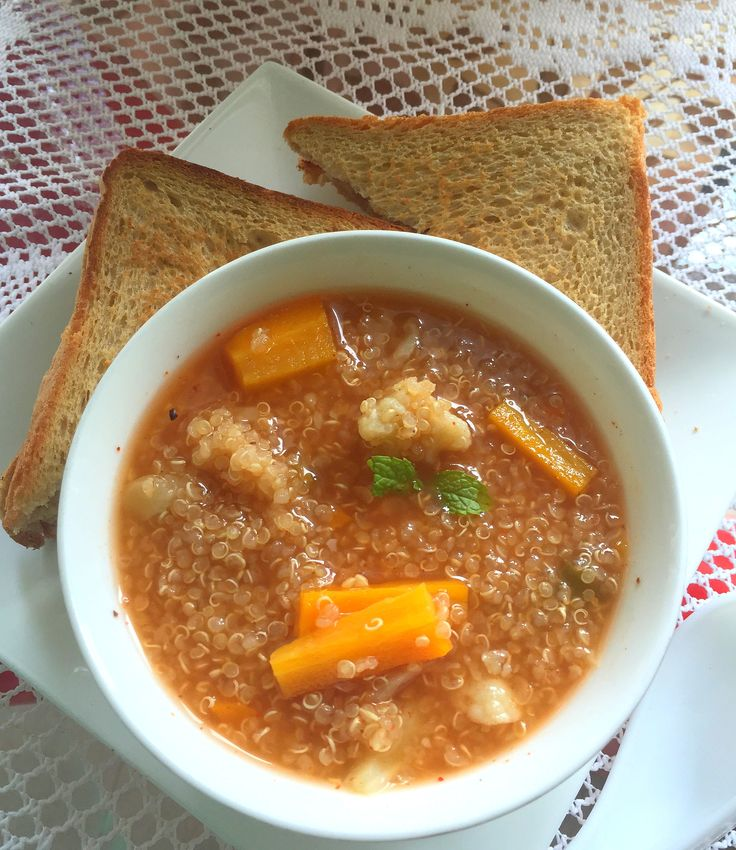 Make a quick diabetic friendly dinner for your family and you. Everyone will definitely love this Quinoa Soup. Have it with a slice of Toasted Brown Bread. A perfect dinner for a Friday winter night. #DiabeticFriendlyRecipes  Show us what your Friday dinner looks like. Click on the image for the recipe. #EverydayCooking #Recipes