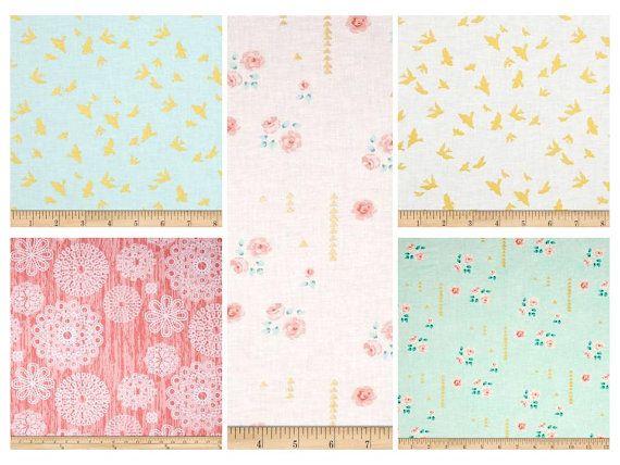 Baby Girl Nursery Set, Nursery Bedding Set, Crib Bedding, Mint, Coral, Gold Girl's Nursery Bedding, crib set, Sheet, Skirt, Bumpers, Blanket