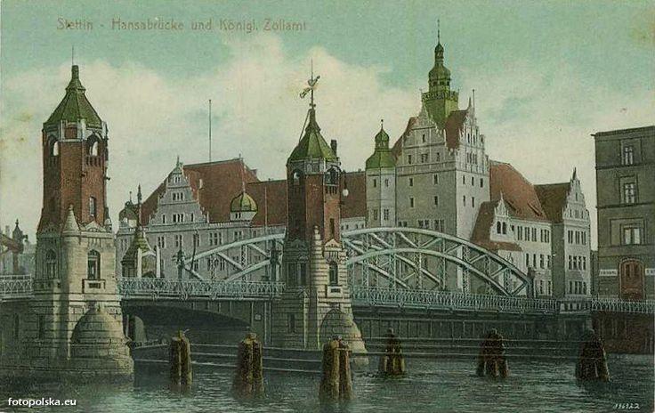 Most Długi (Langebrücke, Hansabrücke, Most im. J. Sobieskiego), Szczecin - 1912 rok, stare zdjęcia