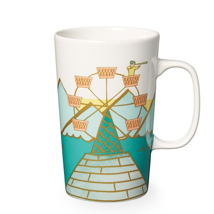 A ceramic coffee mug with a fanciful ferris wheel as the center dot, part of the Dot Collection.