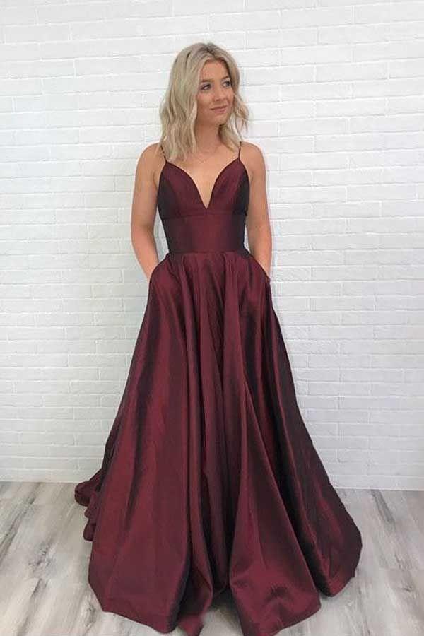 Charming Satin Prom Dress Burgundy Prom Dress V Neck Prom Dress PG671 #burgundy …