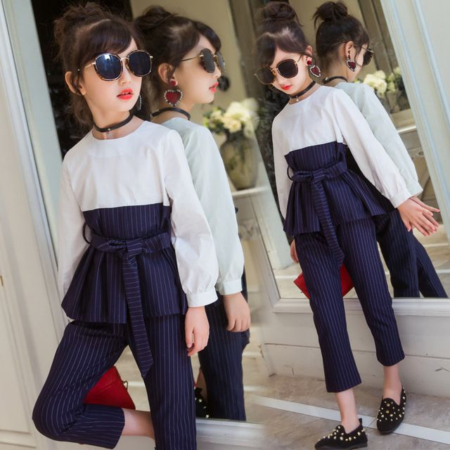 Детская Комплекты для девочек Комплекты одежды для девочек осень 2017 г. Одежда и аксессуары для девочек 2 шт. футболка с длинными рукавами + полосатый карандаш Брюки для девочек наряды 0