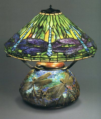 Dragonfly Lamp and Mosaic base, Original Oil Version, Circa 1899, Designed by Clara Driscoll. The Lamps of Louis Comfort Tiffant by MArtin Eidelberg, et al