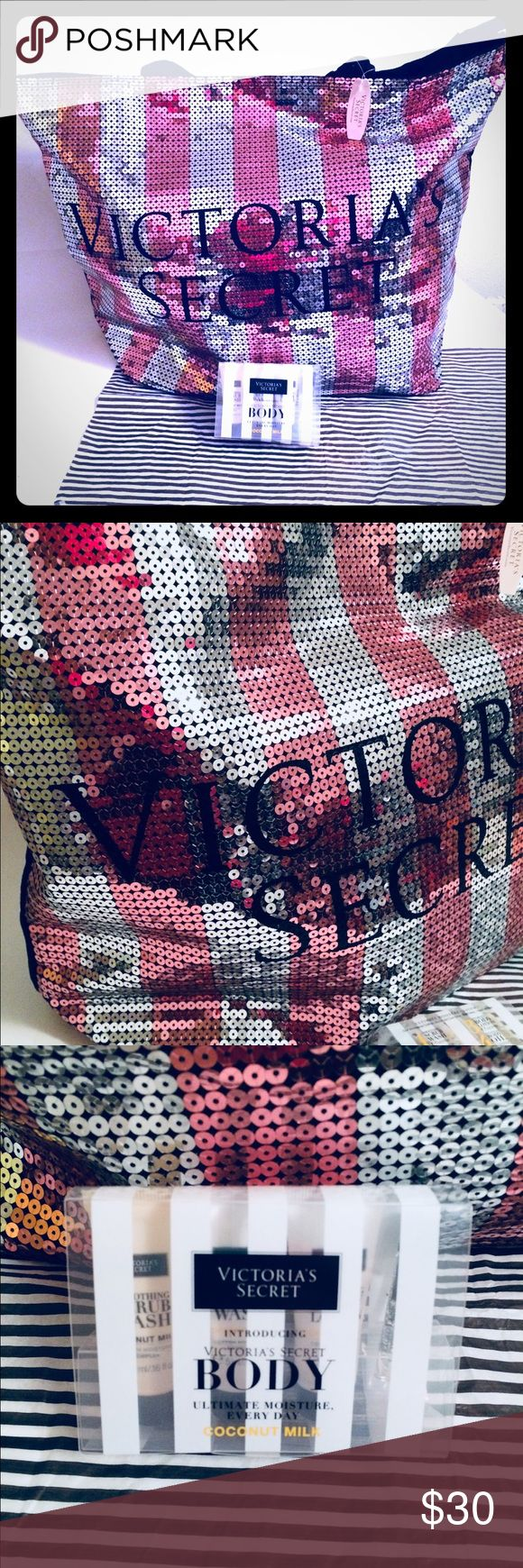 "Victoria's Secret Sequin Tote Bag VICTORIA'S SECRET sequin tote measures 21"" wide / 15"" height  New with tags. Victoria's Secret Body Moisture System - smoothing scrub wash, ultra rich cream wash, hydrating body lotion & weightless body oil.  Colors pink and silver exterior and black interior. Victoria's Secret Bags Totes"
