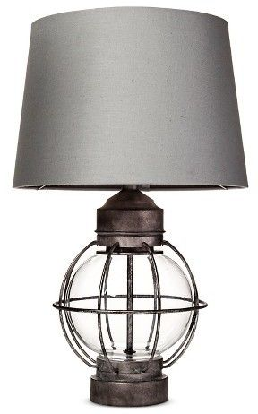 Beekman 1802 FarmHouse Railway Table Lamp - Metal and glass Inspired by railroad lanternsThe Railway Table Lamp in Grey from Beekman 1802 FarmHouse was inspired by the railway line that used to run between New York City and Sharon Springs, NY. The lamp has classic appeal but fits marvelously in a modern setting | Farmhouse style #affiliatelink