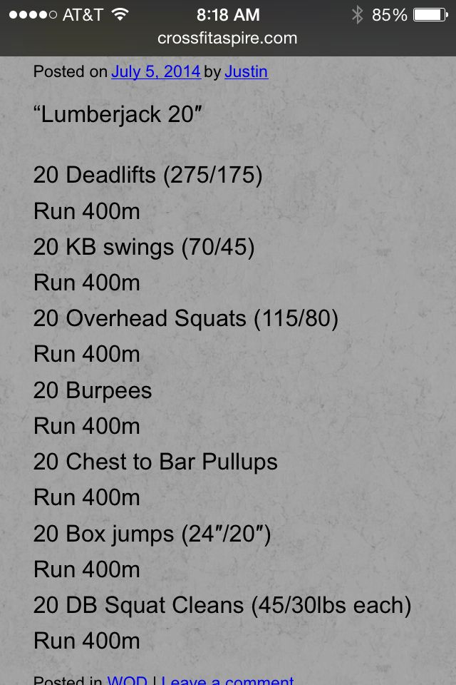 Very tough, very long workout. It's a chipper. Pace yourself. You can do it!