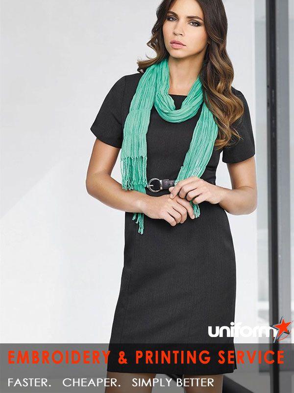 Biz Corporates Cool Stretch : Ladies Short Sleeve Shift Dress - Uniforms