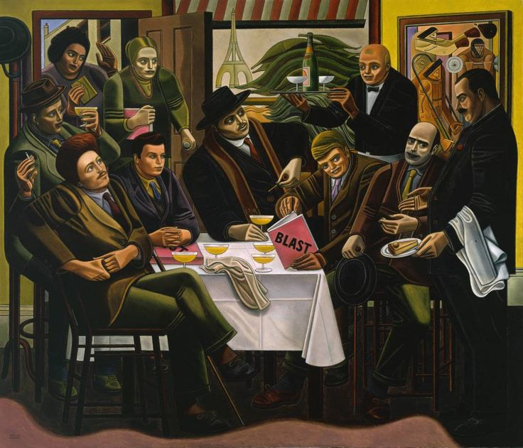 """The Vorticists at the Restaurant de la Tour Eiffel: Spring, 1915"" (1961-2) by William Roberts.  An imaginative reconstruction of the Vorticist artists at Restaurant de la Tour Eiffel, 1 Percy Street, London. It features, from l to r: Cuthbert Hamilton, Ezra Pound, William Roberts, Wyndham Lewis, Frederick Etchells & Edward Wadsworth. Standing l/r are Jessica Dismorr, Helen Saunders, Joe, the waiter, and Rudolph Stulik, the proprietor. Etchells is holding the Vorticist publication 'Blast'"