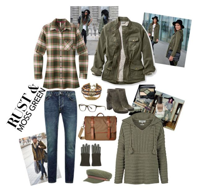 """Rust and moss green"" by marina-bencun ❤ liked on Polyvore featuring Fat Face, Mountain Khakis, Steve Madden, Tommy Hilfiger, Balmain, Topshop, Brixton, L.L.Bean, Christian Dior and Deborah Lippmann"
