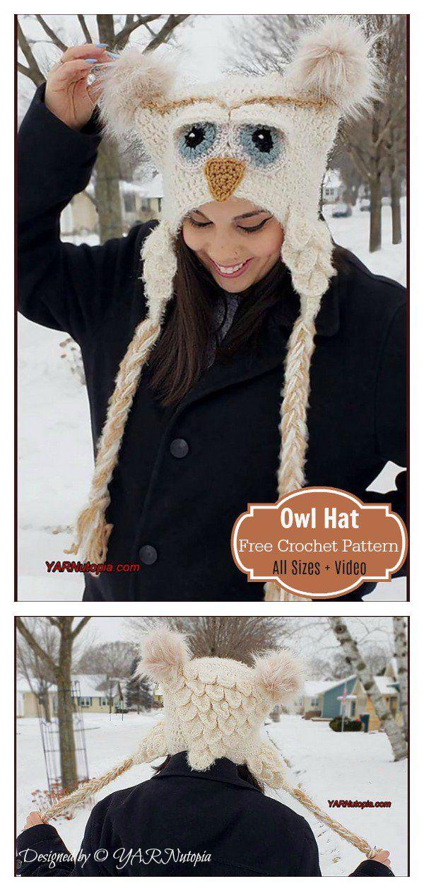 Crocodile Stitch Owl Hat Free Crochet Pattern and Video Tutorial – Crochet