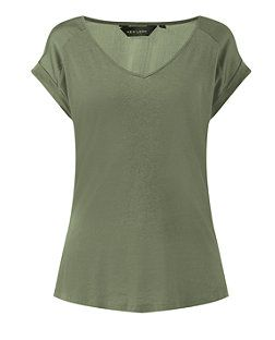 Khaki (Green) Khaki Sateen Shoulder V Neck T-Shirt  | 312193834 | New Look