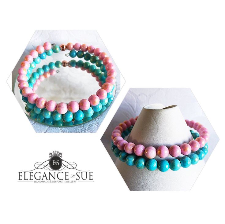 A personal favourite from my Etsy shop https://www.etsy.com/uk/listing/598698323/pink-and-turquoise-jade-wrap-bracelet