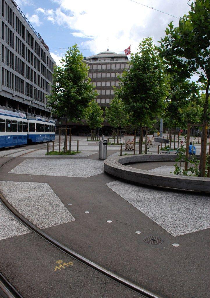shared space with tram, Tessinerplatz, Zurich, Switzerland