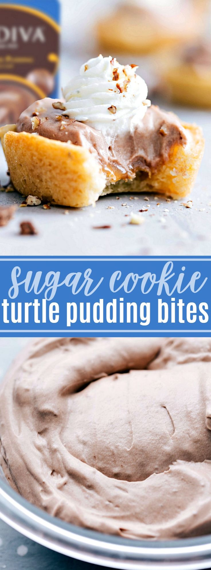 #ad Delicious and decadent chocolate turtle pudding cups made with @GODIVA pudding and only 5 other ingredients | chelseasmessyapron.com | #pudding #GODIVA #chocolate #dessert #turtle