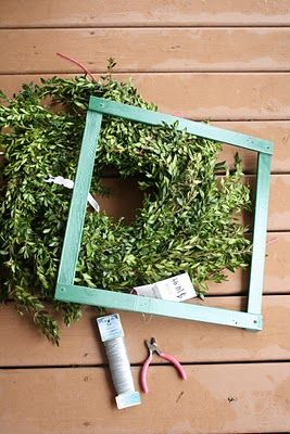 DIY square boxwood wreath...minus the small fortune! She used scrap wood, maybe rulers from the dollar store?