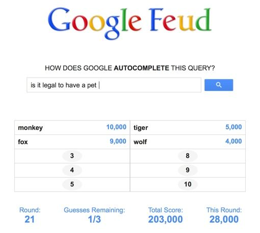 Google Feud- a new online game styled like Family Fued