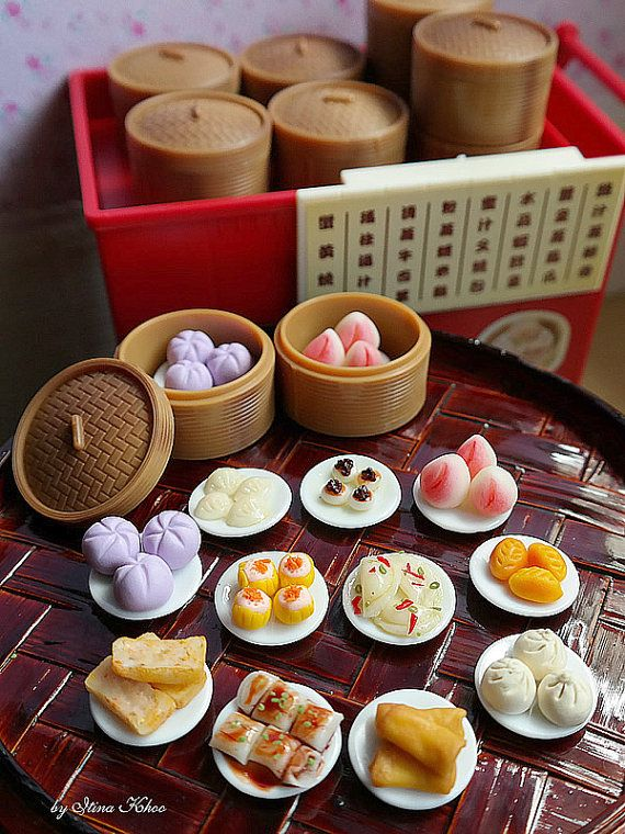 1:6, Miniature, Dollhouse, Dim Sum, Chinese, Food, Kueh, Ha Gao, Pau, Pao, Siew mai, Yum Cha, Asia, Asian, Bamboo, Tray, Cart, Pastry, Blythe, Barbie, Doll, Plate, High Tea, Chinese food, Dolls, Miniatures, handmade, tim sum, dian xin, Dumplings, trolley, restaurant, dimsum, bamboo steamer, pastries, coin bank, pastry, fried carrot cake, chee cheong fun, peach bun