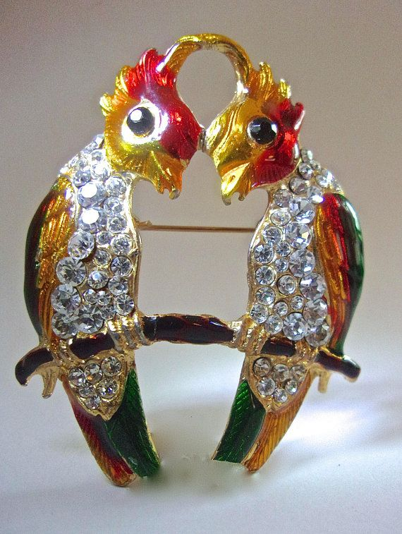 Animals Green Enamel Parrot Macaw Love Bird Rhinestone Crystal Brooch Pin