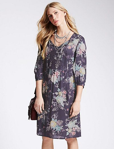 Pure Modal Floral Kimono Fit & Flare Dress  | M&S