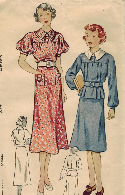semplicità di 1930s 2134 Vintage Sewing Pattern ragazza vestito di un pezzo e vestito a due pezzi taglia 10 di midvalecottage su Etsy https://www.etsy.com/it/listing/193950848/semplicita-di-1930s-2134-vintage-sewing