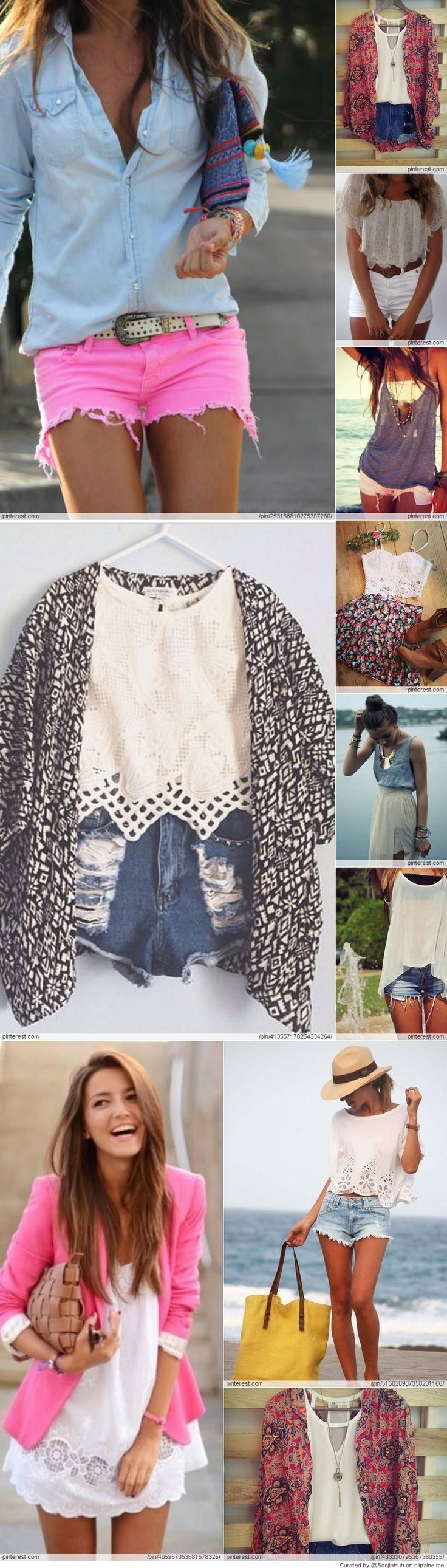All Summer Outfits Pink white shorts skirts leopard pink red colorfull super combines cute and trendy