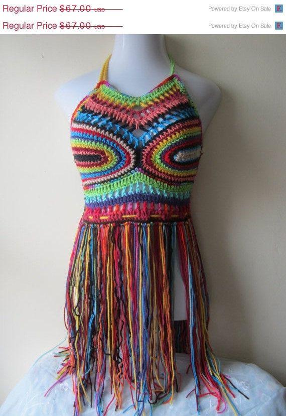 So Cute: Crochet Fringe Festival Halter Top