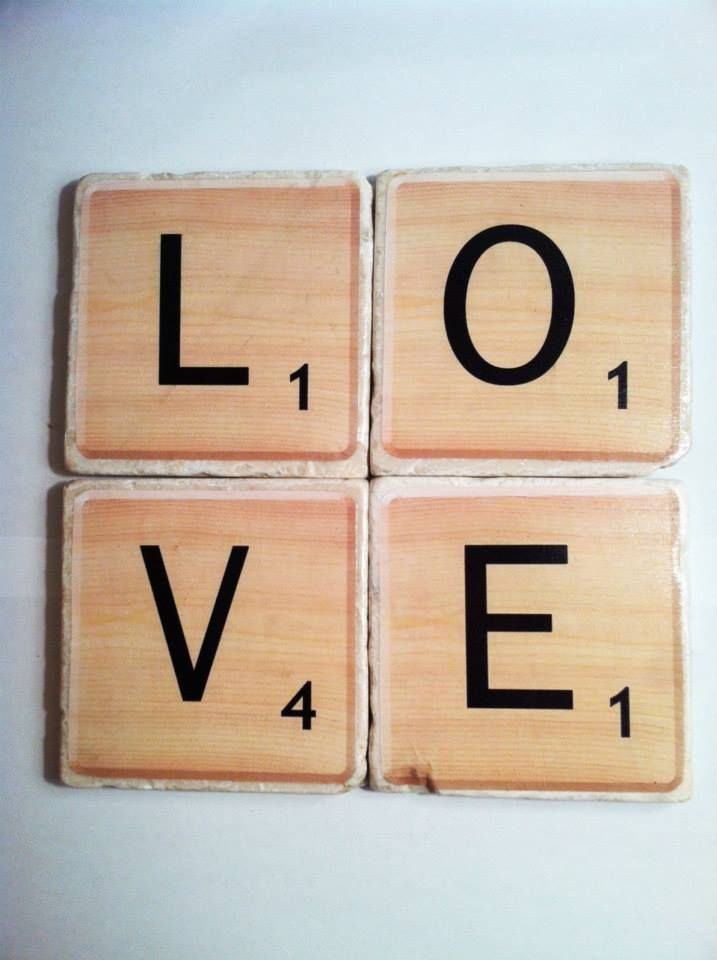 """Scrabble"" letters spell LOVE drink coasters by 5 Creations Handmade Decor"